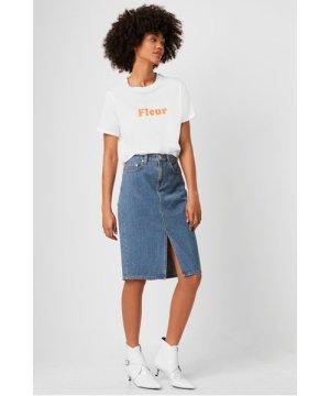 French Slogan Fleur T-Shirt - linen white/fiery coral