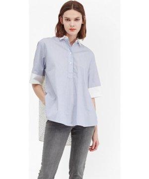 Kyra Cotton Oversized Shirt - blue/summer white