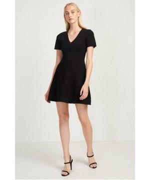 Ellie Knits V Neck Fitted Dress - black