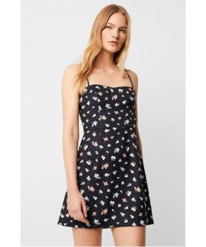 Camass Printed Whisper Sweetheart Dress - utility blue multi