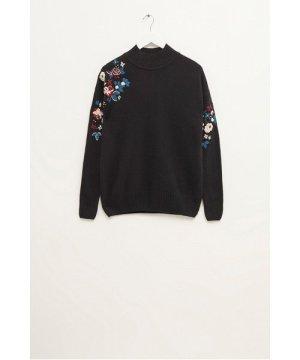 Tilda Embroidery Knits Mock Neck Jumper - black multi