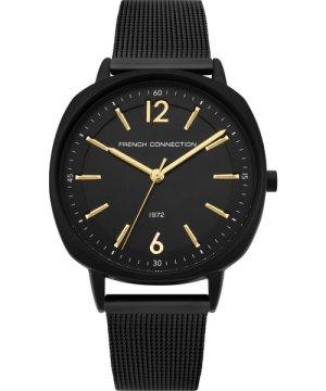 Square Black Mesh Strap Watch - black