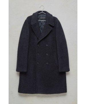 Boucle Coated Coat - marine blue