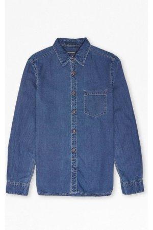 Dobby Denim Longline Shirt - dark rinse/stone