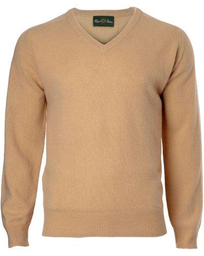 Alan Paine Mens Hampshire V Neck Sweater Camel 42