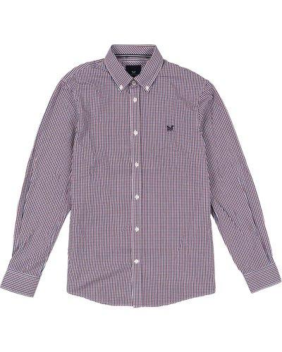 Crew Clothing Mens Tattersall Check Shirt Henley Red Medium