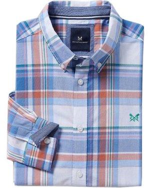 Crew Clothing Mens Ashworth Large Scale Check Shirt White/ Indian Ink / Orange XXL