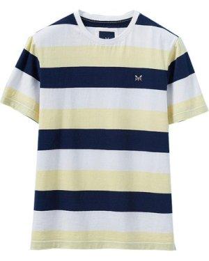 Crew Clothing Mens Hodder Stripe Tee Bees Wax / Navy White XL