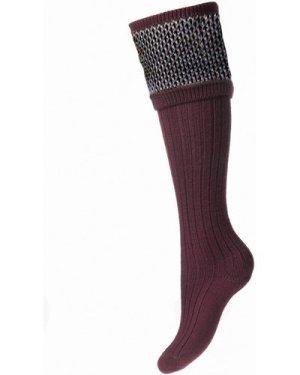 House Of Cheviot Womens Tayside Socks Burgundy Small