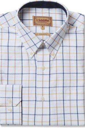 Schoffel Mens Brancaster Shirt Navy/Brown/Yellow Wide 17 Inch