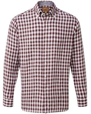 Schoffel Mens Sandbanks Linen Shirt Fig Check 15 Inch
