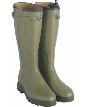Le Chameau Mens Chasseur Leather Lined Wellington Boots Vert Vierzon 10.5 (EU45)