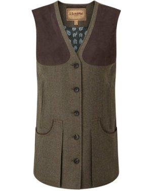 Schoffel Womens Tweed Shooting Vest Loden Green Herringbone Tweed 10