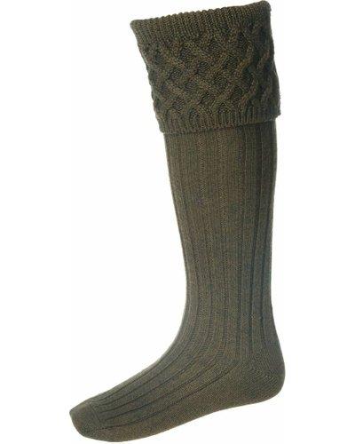 House Of Cheviot Mens Rannoch Chunky Cross Stitch Pattern Top Sock Bracken Medium