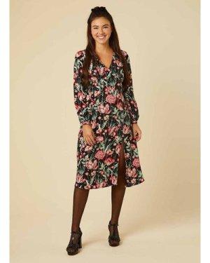 Lucid Dark Floral Star Print Midi Dress - Vintage Style