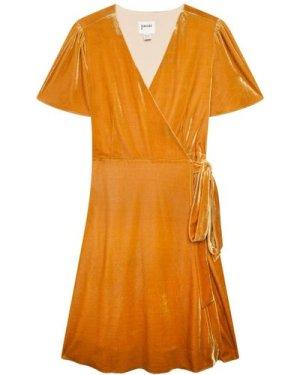 Harley Velvet Wrap Midi Dress - Gold - Vintage Style