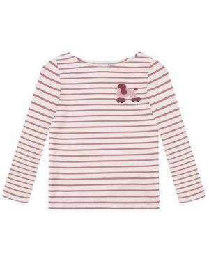Kiki Pink Poodle Breton Stripe Top - Vintage Style