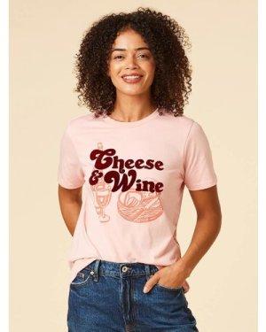 Brie Cheese & Wine Slogan Tee - Pink - Vintage Style