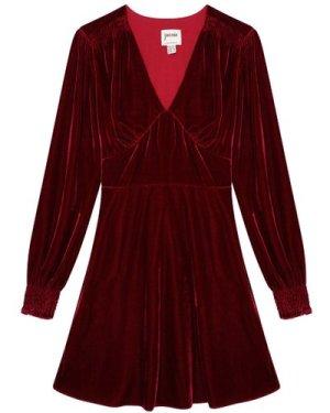 Jupiter Long Sleeve Velvet Mini Dress - Burgundy - Vintage Style