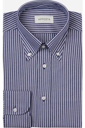 Shirt  stripes  blue 100% pure cotton poplin, collar style  button-down collar