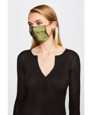 Karen Millen Fashion Silk Face Mask Covering -, Khaki/Green
