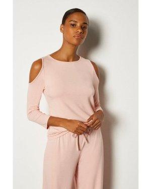 Karen Millen Viscose Jeresy Lounge Cold Shoulder Top -, Pink