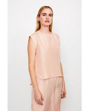 Karen Millen Silk Oversized Tee -, Pink