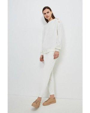 Karen Millen Smart Ponte Lounge Trousers -, Cream
