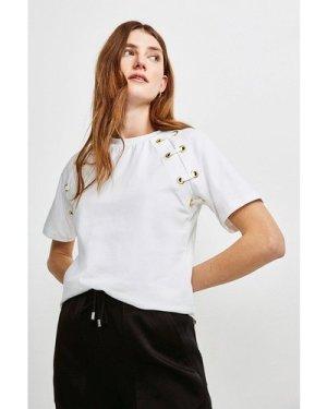 Karen Millen Lounge Eyelet Sleeve Jersey T-Shirt -, White