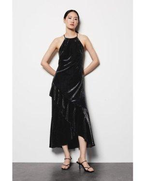 Karen Millen Halter Neck Velvet Dress -, Black