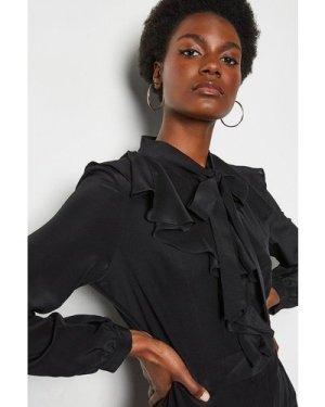 Karen Millen Long Ruffle Silk Shirt Dress -, Black