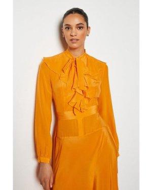 Karen Millen Long Ruffle Silk Shirt Dress -, Orange