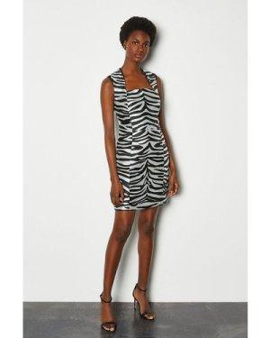 Karen Millen Jacquard Animal Dress -, Zebra