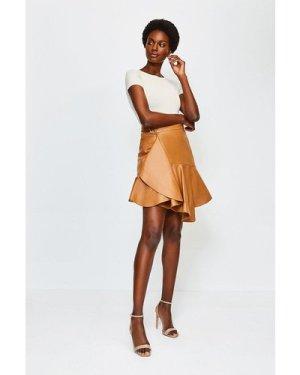 Karen Millen Leather Flippy Mini Skirt -, Orange