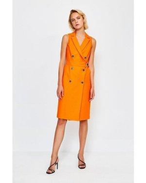 Karen Millen Sleek And Sharp Tailoring Dress -, Orange