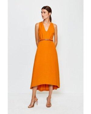 Karen Millen Plunge Belted Midi Dress -, Orange