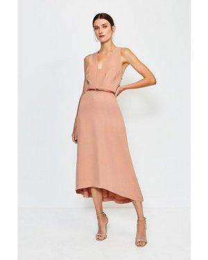 Karen Millen Plunge Belted Midi Dress -, Cappucino