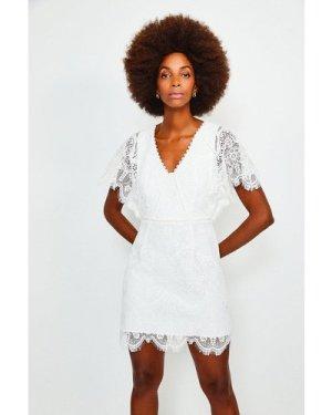 Karen Millen Fluted Sleeve Lace Dress -, Ivory