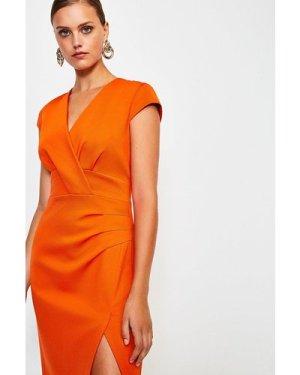 Karen Millen Italian Jersey Cap Sleeve Tuck Detail Dress -, Orange