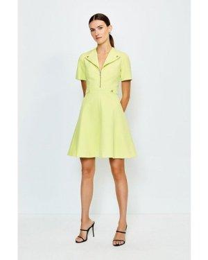 Karen Millen Zip Placket A Line Dress -, Green