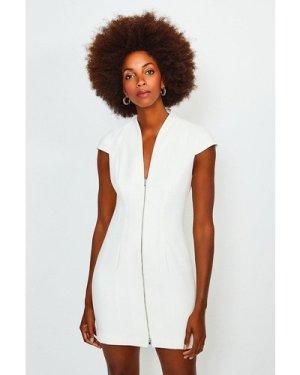 Karen Millen Plunge Neck Zip Front Dress -, Ivory