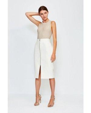 Karen Millen Zip Front Pencil Skirt -, Ivory