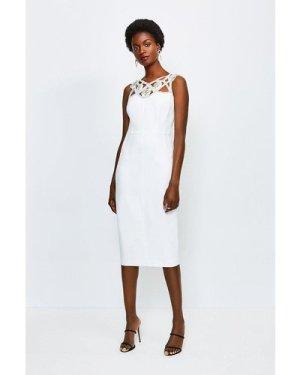 Karen Millen Diamante Cutwork Midi Dress -, Ivory