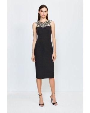 Karen Millen Diamante Cutwork Midi Dress -, Black