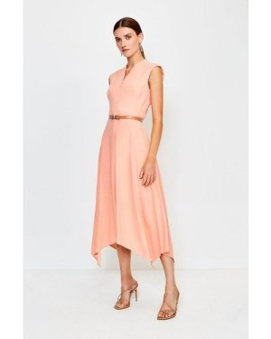 Karen Millen Belted Notch Neck Dress -, Orange