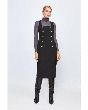 Karen Millen Military Square Neck Pencil Dress -, Black