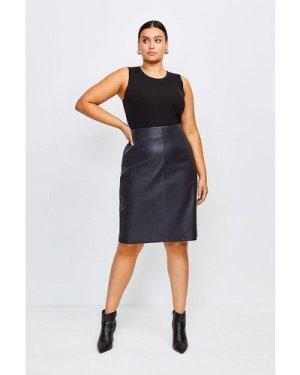 Karen Millen Curve Stretch Leather Pencil Skirt -, Black