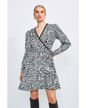Karen Millen Print Wrap Dress With Stud Trim -, Animal