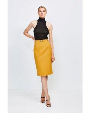 Karen Millen Forever Cinch Belted Pencil Skirt -, Orange