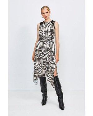Karen Millen Animal Print Midi Dress With Lace And Stud Trim -, Zebra